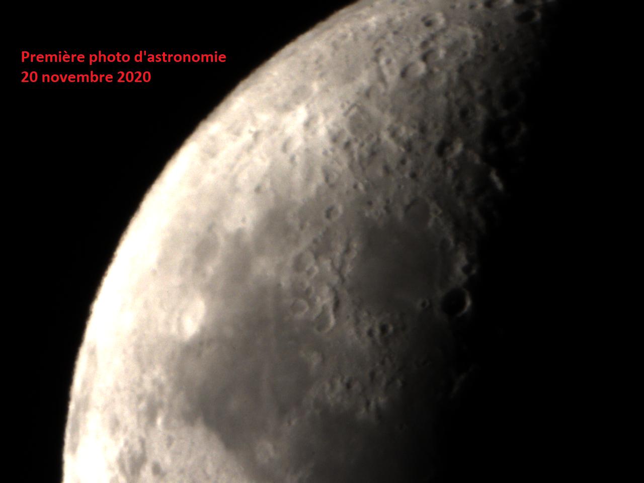 Lune : ma toute première photo (brute)